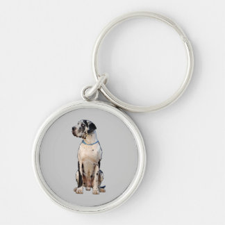 Gefleckte Dogge Silver-Colored Round Key Ring