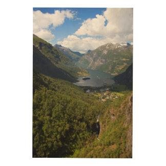 Geiranger Fjord landscape, Norway Wood Print