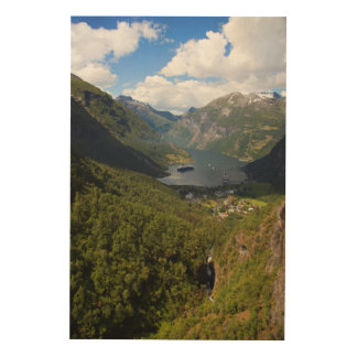 Geiranger Fjord landscape, Norway Wood Wall Decor