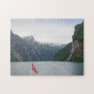 Geiranger fjord with Norwegian flag jigsaw puzzle