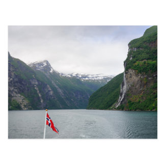 Geiranger fjord with Norwegian flag postcard