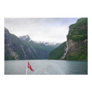Geiranger fjord with Norwegian flag print