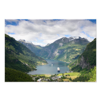 Geirangerfjord view in Norway photo print