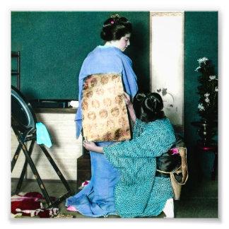 Geisha Adjusting Kimono Obi for Geisha Vintage Photo Print