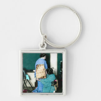 Geisha Adjusting Kimono Obi for Geisha Vintage Silver-Colored Square Key Ring