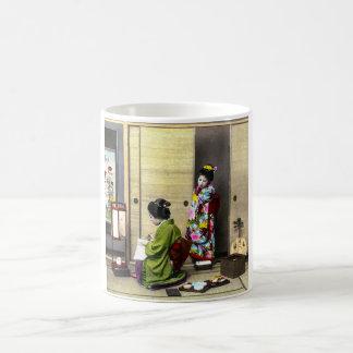 Geisha and her Meiko in Old Japan Vintage Coffee Mug