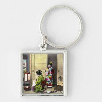 Geisha and her Meiko in Old Japan Vintage Key Ring