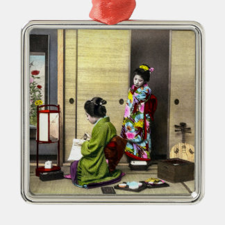 Geisha and her Meiko in Old Japan Vintage Silver-Colored Square Decoration