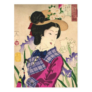 Geisha and Irises Japanese Woodblock Art Ukiyo-e Postcard