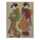 Geisha and Servant Vintage Japanese Art Post Cards