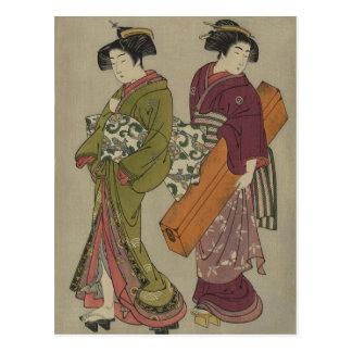 Geisha and Servant Vintage Japanese Art Postcard