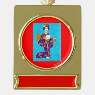 Geisha Doll Gold Plated Banner Ornament