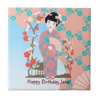 Geisha girl birthday party small square tile