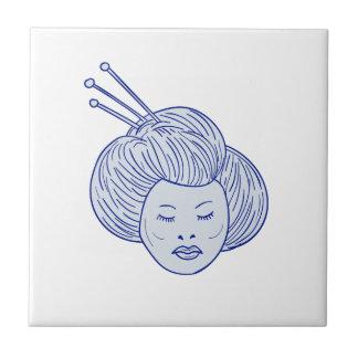 Geisha Girl Head Drawing Ceramic Tile