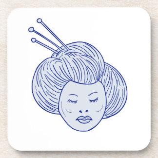 Geisha Girl Head Drawing Coaster