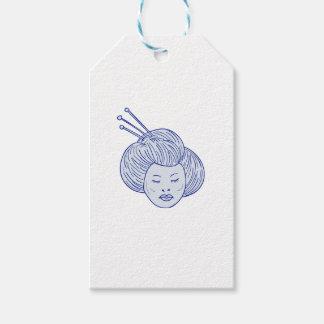 Geisha Girl Head Drawing Gift Tags