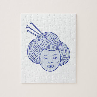 Geisha Girl Head Drawing Jigsaw Puzzle