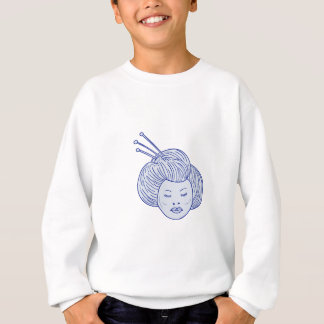 Geisha Girl Head Drawing Sweatshirt