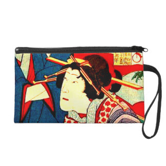 Geisha Girl Japanese Woodcut Art Designer Purse Wristlet Clutches