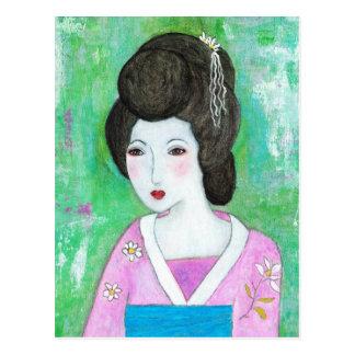 Geisha Girl Mixed Media Abstract Painting Postcard
