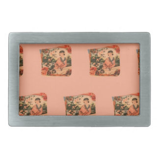 Geisha Girl Rectangular Belt Buckle