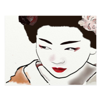 Geisha Girl Watercolor Postcard
