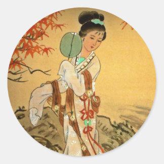 Geisha Girl with Fan Classic Round Sticker