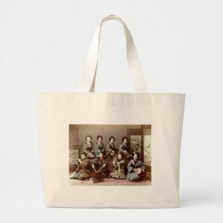 Geisha Girls Playing Instruments - Kusakabe Kimbei Large Tote Bag