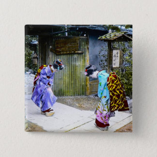 Geisha Greetings at the Gate Vintage Old Japan 15 Cm Square Badge