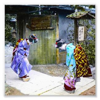 Geisha Greetings at the Gate Vintage Old Japan Photo Print