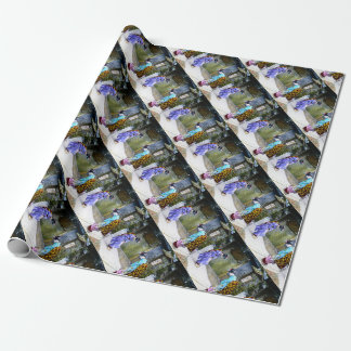 Geisha Greetings at the Gate Vintage Old Japan Wrapping Paper