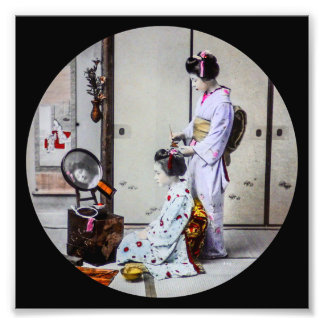 Geisha Hair Dressing Vintage Japanese 芸者 Photo Print