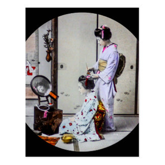 Geisha Hair Dressing Vintage Japanese 芸者 Postcard