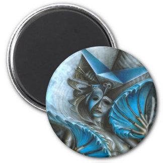 Geisha in blue 6 cm round magnet