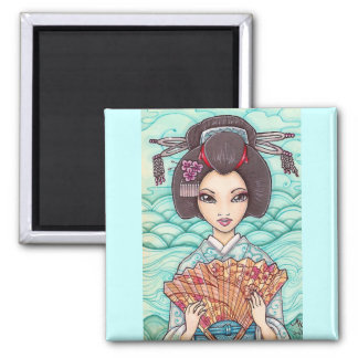 Geisha in Blue Kimono, Ukiyoe Fine Art Magnet