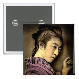Geisha in the Shadows Vintage Old Japan Exotic 15 Cm Square Badge