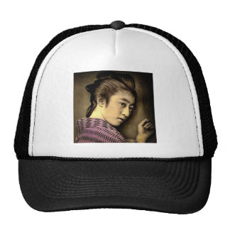 Geisha in the Shadows Vintage Old Japan Exotic Cap