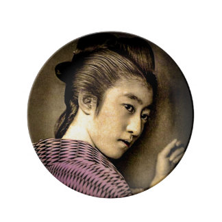 Geisha in the Shadows Vintage Old Japan Exotic Plate