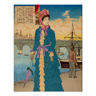 Geisha in the West Japanese Woodblock Art Ukiyo-E Poster