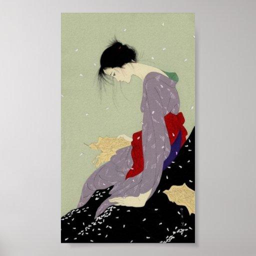 Geisha in Winter Print