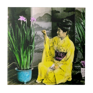 Geisha in Yellow Kimono Arranging Flowers Vintage Ceramic Tile