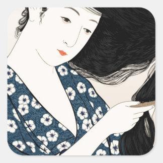 Geisha Japan Square Sticker