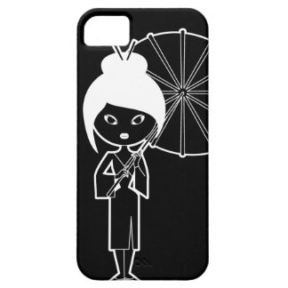 Geisha Lady white on black Barely There iPhone 5 Case