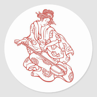 Geisha Maiden Playing Music Classic Round Sticker