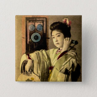 Geisha Making a Midnight Call to a Secret Lover 15 Cm Square Badge