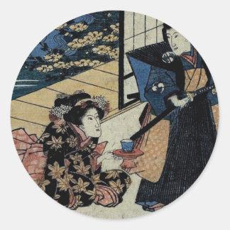 Geisha Offering Tea Round Sticker