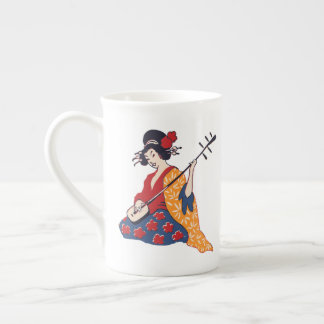 Geisha Playing a Shamisen Bone China Mug