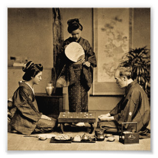 Geisha Playing Master At Game of Go  囲碁 Vintage Photo Print