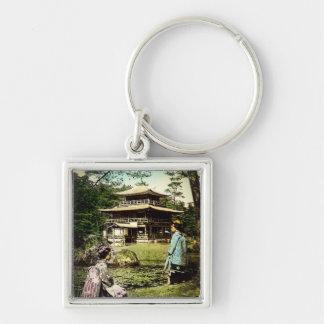 Geisha Posing at Kinkaku-ji Golden Temple Japan Key Ring