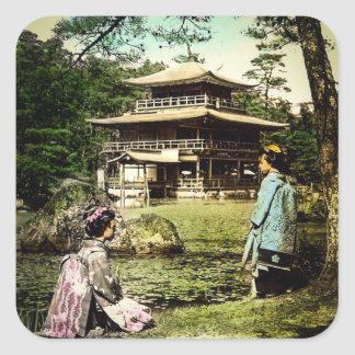 Geisha Posing at Kinkaku-ji Golden Temple Japan Square Sticker